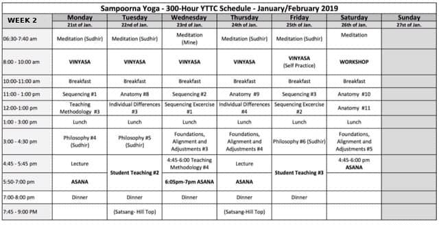 300 Hour Yoga Teacher Training Week 2 Time Table